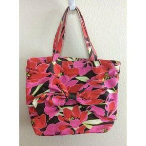 Kate Spade Brown Pink Floral Print Canvas Bag